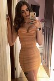 Summer Sexy Kahaki Off Shoulder Ruched Bodycon Dress
