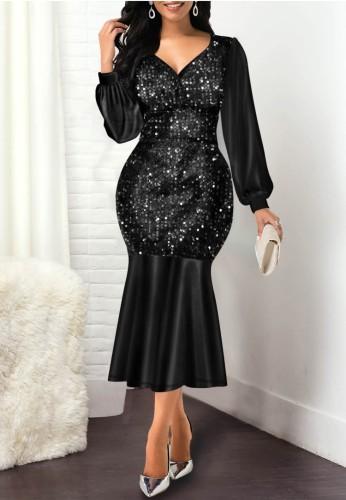 Herbst Elegantes Schwarzes Pailletten V-Ausschnitt Langarm Meerjungfrau Kleid