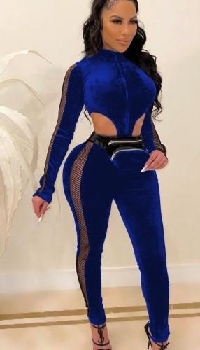 Fall Sexy Blue Velvet Mesh Patch Cutout Long Sleeve Jumpsuit