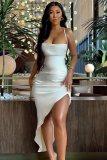 Sommer Sexy Weiß Satin Träger Unregelmäßige Schlitz Langes Kleid