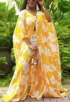 Herbst Plus Size Gelbes, floral bedrucktes, bauchfreies Oberteil und Hose mit weitem Bein und Oversize-Mantel