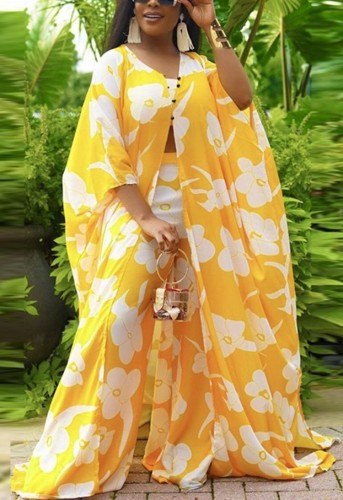 Fall Plus Size Yellow Floral Printed Tube Crop top and Wide Leg Pants Set with Oversize Coat