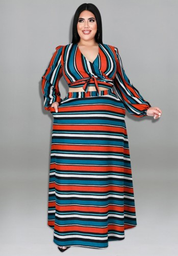 Herbst Plus Size Stripe Print Lace Up V-Ausschnitt Langarm-Top und langes Kleid Set