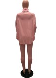 Winter Pink Printed High Neck Oversize Shirt and Tight Pants Set