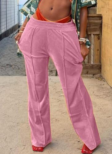 Winter Casual Pink Velvet Jogger Loose Sweatpants