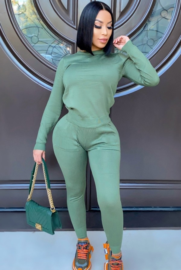 Fall Casual Green Round Neck Long Sleeve Top And Pocket Pant Set