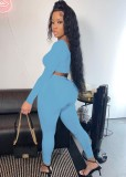 Fall Sexy Blue Irregual Neck Long Sleeve Crop Top And Pant Set