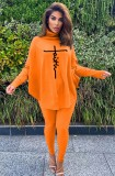 Winter Orange Printed High Neck Oversize Shirt and Tight Pants Set