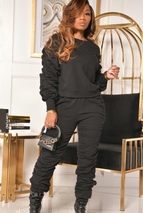 Sonbahar Günlük Siyah Yuvarlak Yaka Fırfırlı Uzun Kollu Üst ve Yığılmış Pantolon Takım