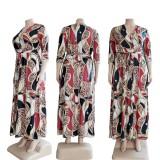 Sonbahar Büyük Beden Retro Baskı V Yaka Kemerli Yarım Kol Uzun Elbise