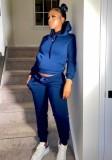 Winter Casual Blue Fleece Sport Zweiteiler Hoody Sweatsuit