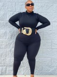 Fall Plus Size Casual Black High Neck Long Sleeve Top And Pant Set
