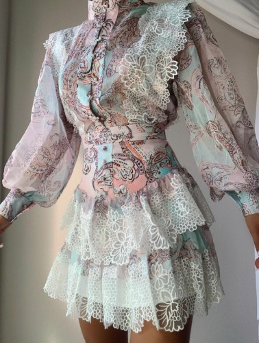 Fall Retro Floral Printed Button Up Lace Patch Layered dress