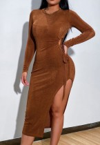Fall Sexy Brown Hollow Out Long Sleeve Split Midi Dress