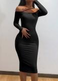 Güz Seksi Siyah Askılı Kapalı Omuz Uzun Kollu Dar Midi Elbise