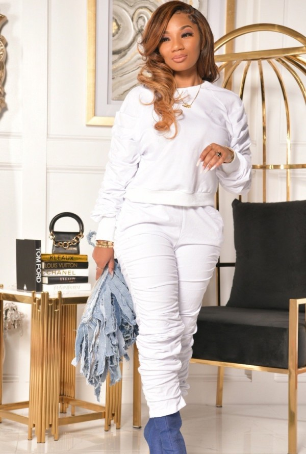 Fall Casual White Round Neck Ruffles Long Sleeve Top And Stacked Pant Set