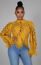 Fall Sexy Yellow Hollow Out Long Sleeve Shirt