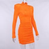 Herbst Sexy Orange Stehkragen Langarm Basic Minikleid