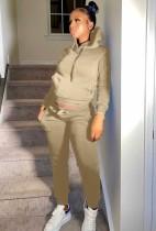 Winter Casual Khaki Fleece Sports Two Piece Hoody Sweatsuit