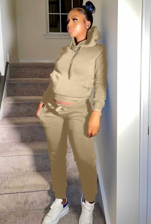 Winter Casual Khaki Fleece Sport Zweiteiler Hoody Sweatsuit