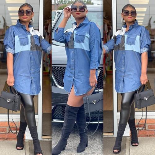 Güz Mavi Bloklu Uzun Kollu Gömlek Elbise