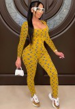Fall Yellow Crescent Print Long Sleeve Jumpsuit