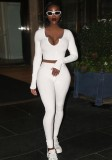 Fall Sexy White Irregual Neck Long Sleeve Crop Top And Pant Set