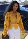 Sonbahar Seksi Sarı Oymalı Uzun Kollu Gömlek