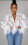 Fall Sexy White Hollow Out Long Sleeve Shirt