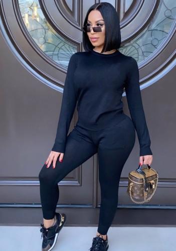 Sonbahar Günlük Siyah Yuvarlak Yaka Uzun Kollu Üst Ve Cepli Pantolon Takım
