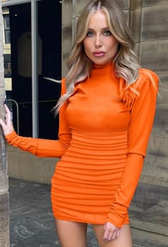 Fall Sexy Orange High Neck Long Sleeve Basic Mini Dress