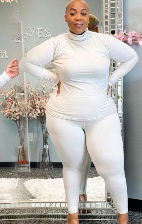 Sonbahar Büyük Beden Günlük Beyaz Yüksek Yaka Uzun Kollu Üst Ve Pantolon Takım