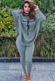 Winter Gray Printed High Neck Oversize Shirt and Tight Pants Set
