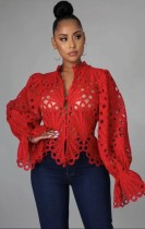 Fall Sexy Red Hollow Out Long Sleeve Shirt