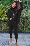 Kışlık Siyah Baskılı Yüksek Yaka Oversize Gömlek ve Dar Pantolon Takım