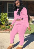 Winter Casual Pink Crop Two Piece Tracksuit