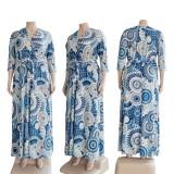 Fall Plus Size Retro Print V-Neck With Belt Half Sleeve Long Dress