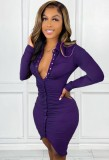 Fall Sexy Purple Long Sleeve V-neck Button Up Ruched Bodycon Dress