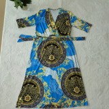 Herbst Plus Size Retro Print V-Ausschnitt Mit Gürtel Halbarm Langes Kleid