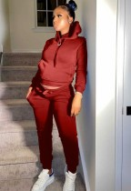 Sudadera con capucha deportiva de dos piezas de lana roja informal de invierno