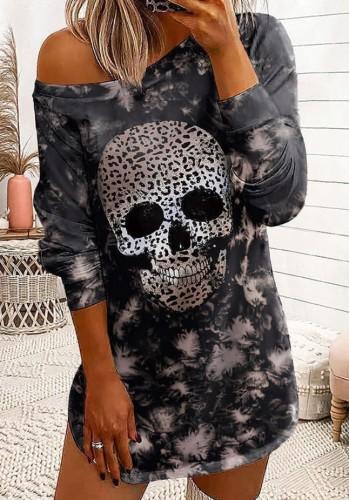 Fall Casual Halloween Skull Printed Long Sleeve Casual Dress