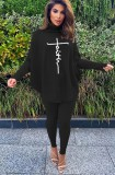 Winter Black Printed High Neck Oversize Shirt and Tight Pants Set