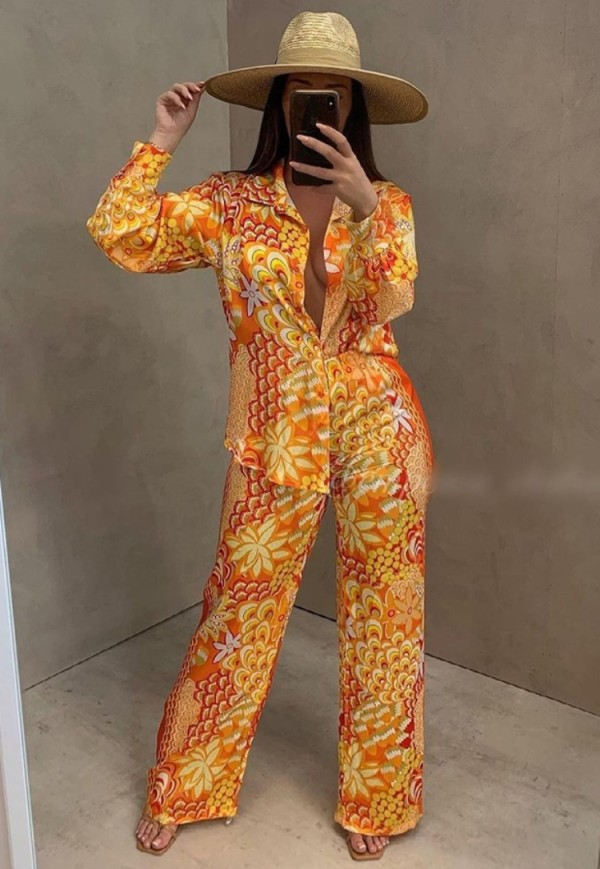 Fall Retro Print Button Up Long Sleeve Top And Loose Pant Set
