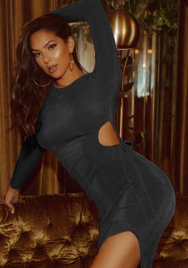 Fall Sexy Black Hollow Out Long Sleeve Split Midi Dress