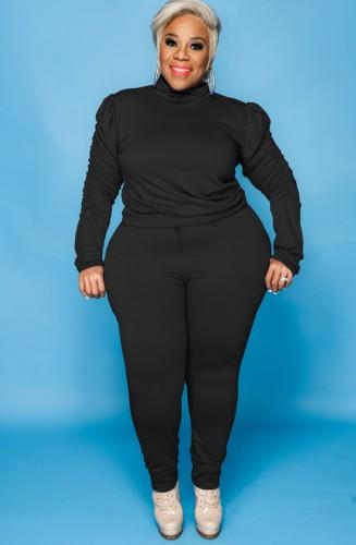 Sonbahar Büyük Beden Siyah Yüksek Yaka Fırfırlı Uzun Kol Ve Pantolon İki Parça Takım