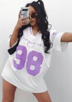 Fall Casual White Half Sleeve Loose American Football T-Shirt Dress
