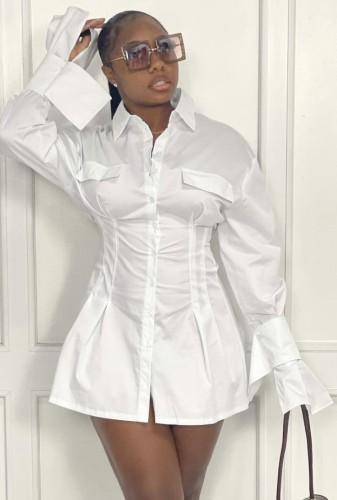 秋のファッションホワイト長袖ニップウエストシャツ