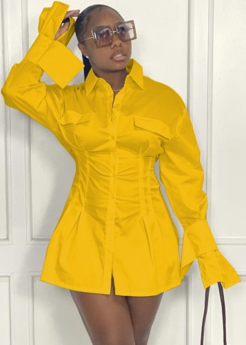 Fall Fashion Yellow Long Sleeve Nipped Waists Shirt