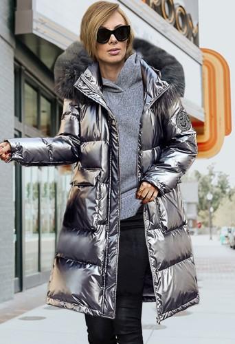 Winter Casual Dark Gray Long Puffer Jeacket with Fur Collar