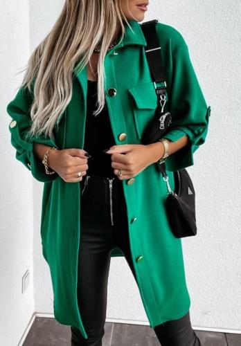 Winter Casual Fashion Green Pocket Button Long Sleeve Long Coat